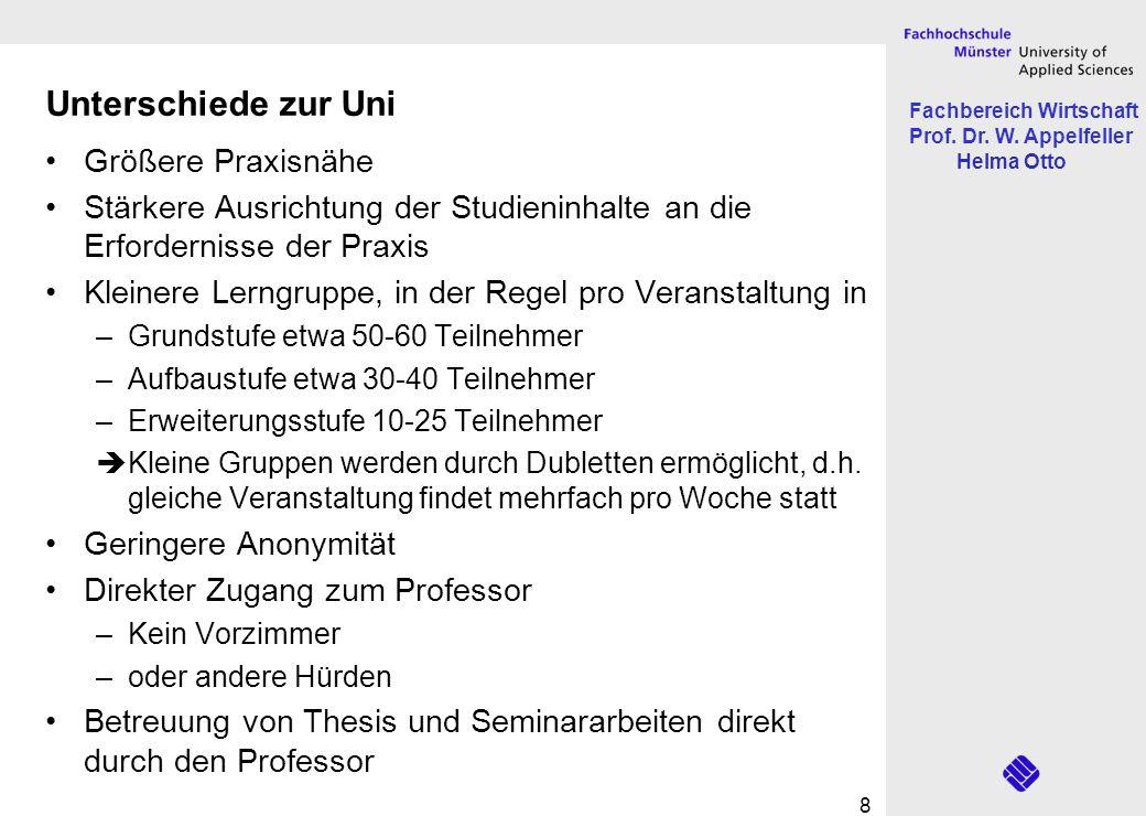Fachbereich Wirtschaft Prof. Dr. W. Appelfeller Helma Otto 8 Unterschiede zur Uni Größere Praxisnähe Stärkere Ausrichtung der Studieninhalte an die Er