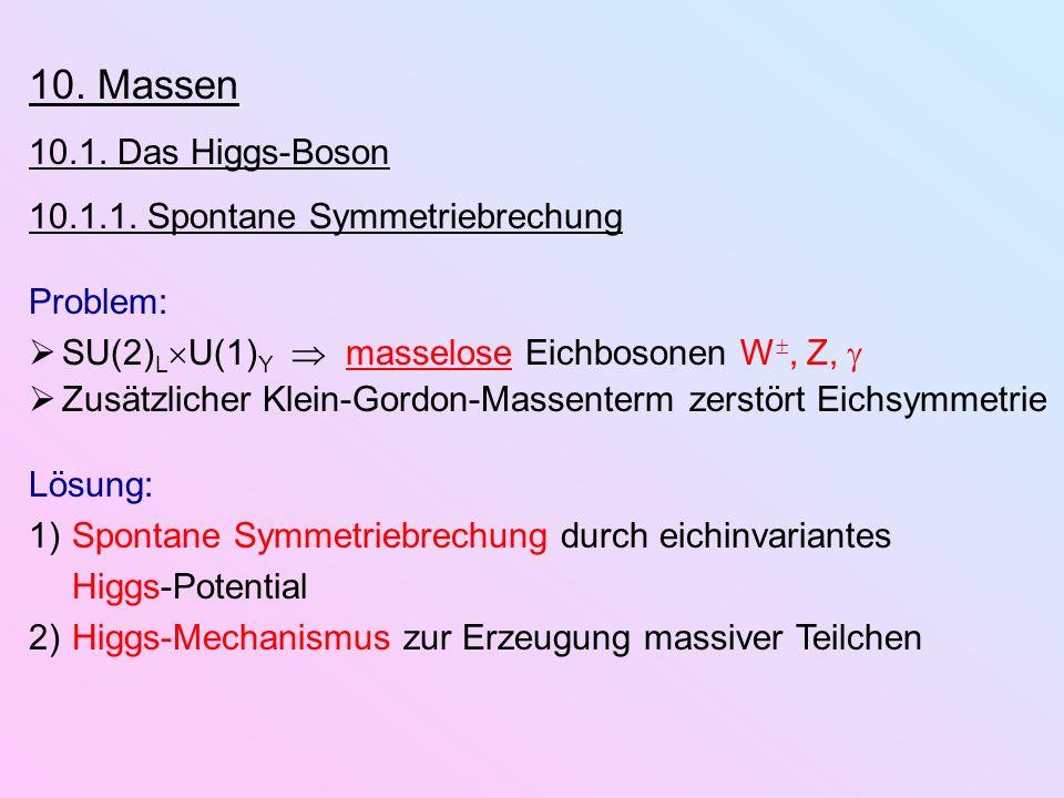 10. Massen 10.1. Das Higgs-Boson 10.1.1. Spontane Symmetriebrechung Problem: SU(2) L U(1) Y masselose Eichbosonen W, Z, Zusätzlicher Klein-Gordon-Mass