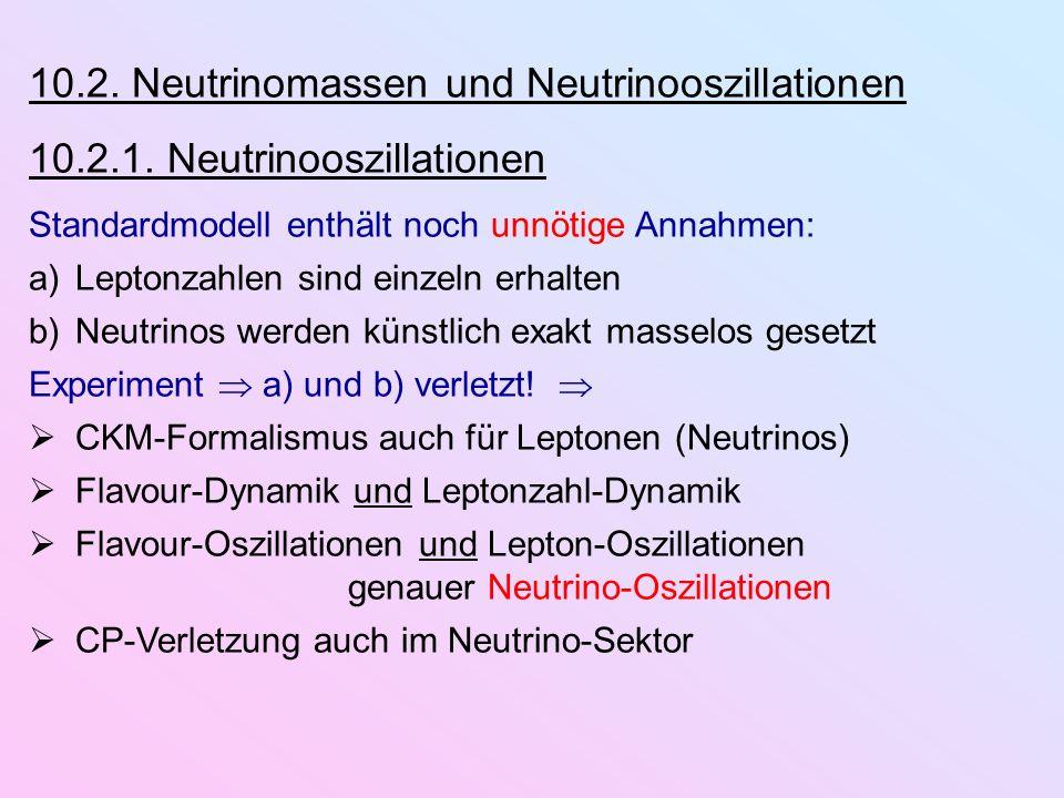 10.2. Neutrinomassen und Neutrinooszillationen 10.2.1. Neutrinooszillationen Standardmodell enthält noch unnötige Annahmen: a)Leptonzahlen sind einzel