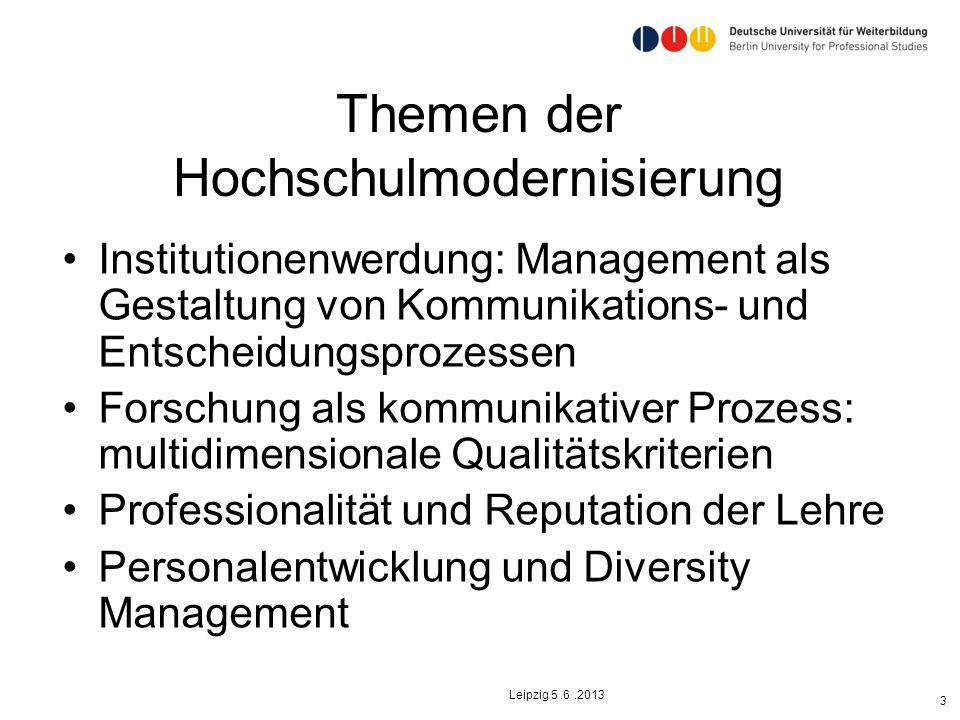 Themen der Hochschulmodernisierung Institutionenwerdung: Management als Gestaltung von Kommunikations- und Entscheidungsprozessen Forschung als kommun