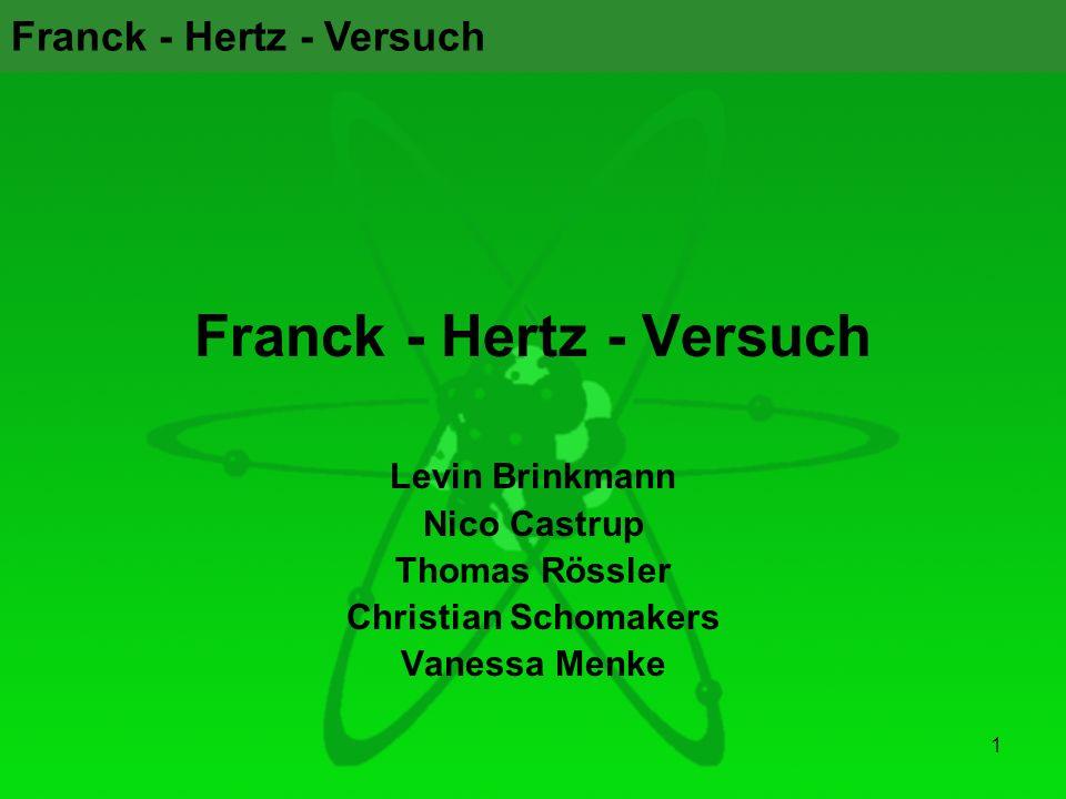 Franck - Hertz - Versuch 1 Levin Brinkmann Nico Castrup Thomas Rössler Christian Schomakers Vanessa Menke