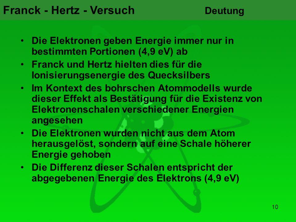 Franck - Hertz - Versuch 10 Deutung Die Elektronen geben Energie immer nur in bestimmten Portionen (4,9 eV) ab Franck und Hertz hielten dies für die I