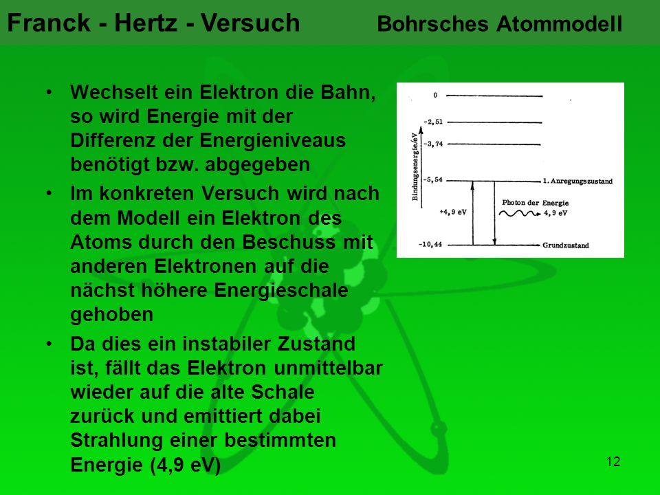 Franck - Hertz - Versuch 12 Bohrsches Atommodell Wechselt ein Elektron die Bahn, so wird Energie mit der Differenz der Energieniveaus benötigt bzw. ab