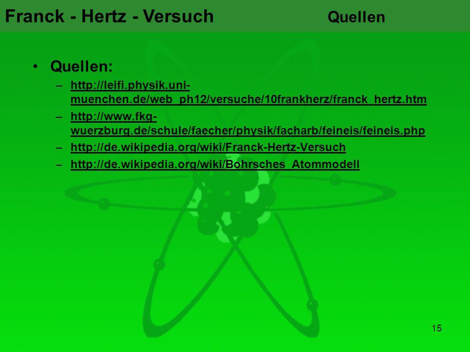 Franck - Hertz - Versuch Quellen Quellen: –http://leifi.physik.uni- muenchen.de/web_ph12/versuche/10frankherz/franck_hertz.htmhttp://leifi.physik.uni-