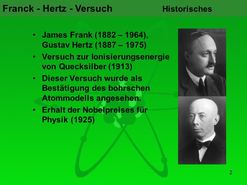 Franck - Hertz - Versuch 2 Historisches James Frank (1882 – 1964), Gustav Hertz (1887 – 1975) Versuch zur Ionisierungsenergie von Quecksilber (1913) D