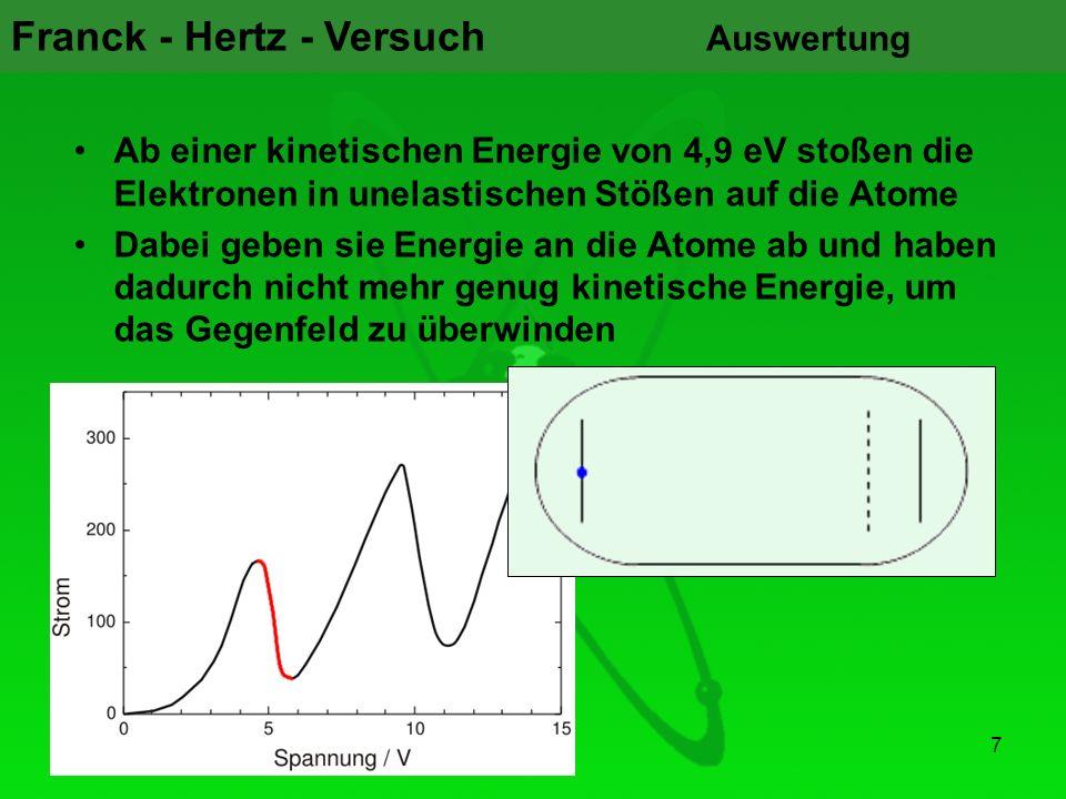 Franck - Hertz - Versuch 7 Auswertung Ab einer kinetischen Energie von 4,9 eV stoßen die Elektronen in unelastischen Stößen auf die Atome Dabei geben