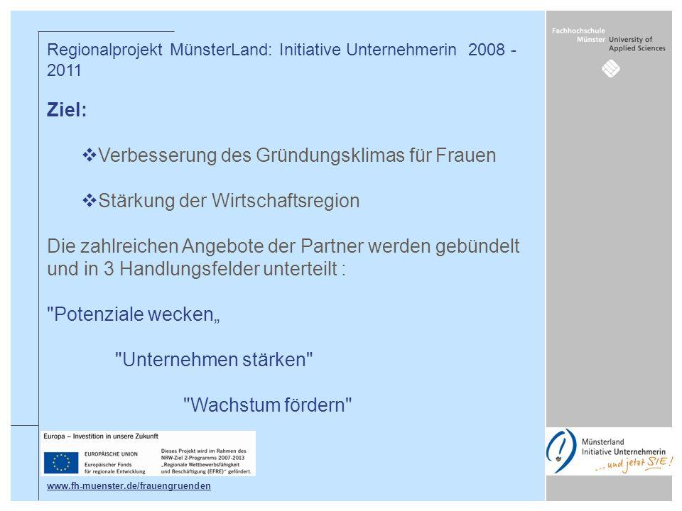 Regionalprojekt MünsterLand: Initiative Unternehmerin 2008 - 2011 Ziel: Verbesserung des Gründungsklimas für Frauen Stärkung der Wirtschaftsregion Die