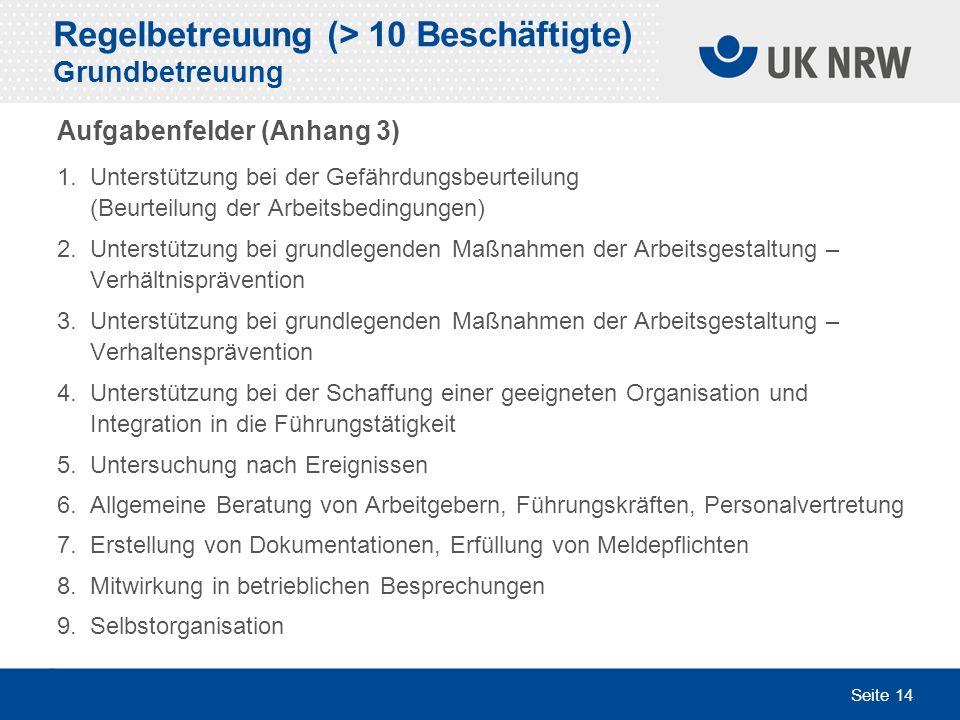 Seite 14 Regelbetreuung (> 10 Beschäftigte) Grundbetreuung Aufgabenfelder (Anhang 3) 1. Unterstützung bei der Gefährdungsbeurteilung (Beurteilung der
