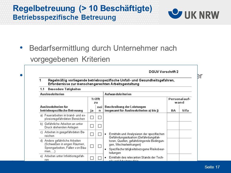 Seite 17 Bedarfsermittlung durch Unternehmer nach vorgegebenen Kriterien Ggfs. Festlegung und schriftliche Vereinbarung der Betreuungsleistung Regelbe