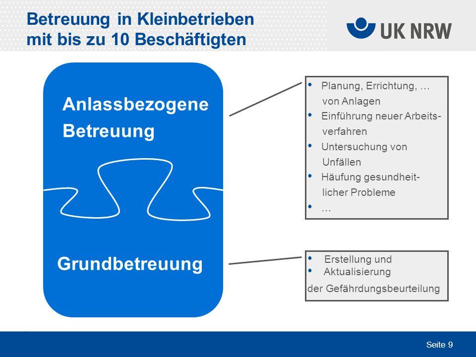 Seite 9 Betreuung in Kleinbetrieben mit bis zu 10 Beschäftigten Erstellung und Aktualisierung der Gefährdungsbeurteilung Planung, Errichtung, … von An