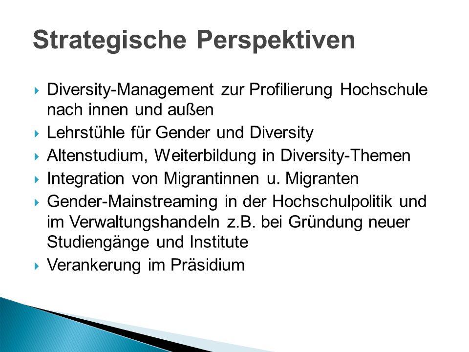 Diversity-Management zur Profilierung Hochschule nach innen und außen Lehrstühle für Gender und Diversity Altenstudium, Weiterbildung in Diversity-The