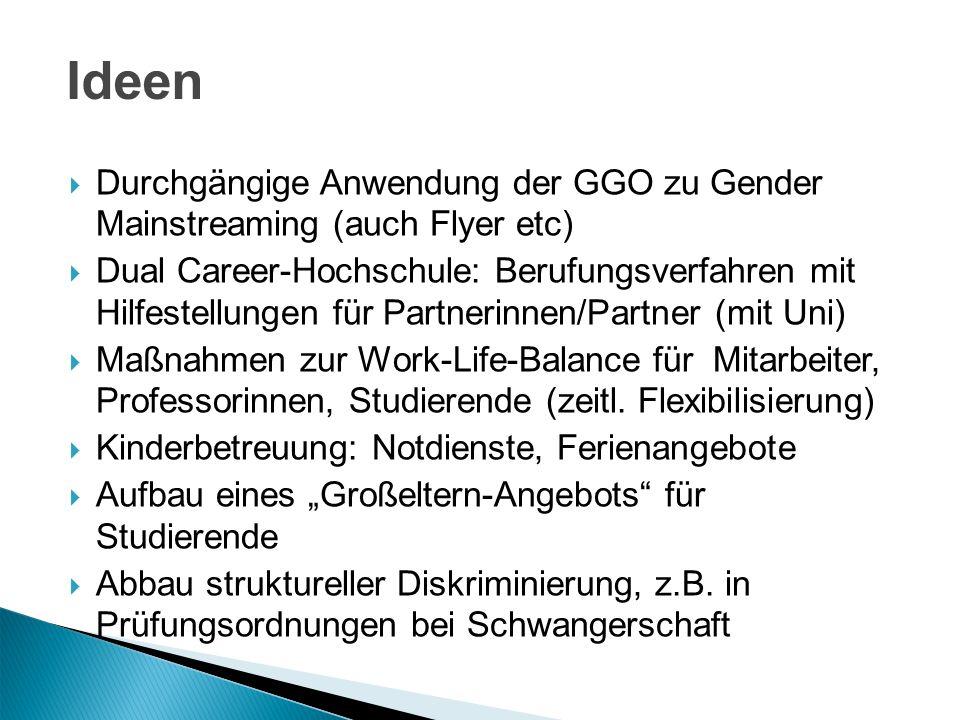 Durchgängige Anwendung der GGO zu Gender Mainstreaming (auch Flyer etc) Dual Career-Hochschule: Berufungsverfahren mit Hilfestellungen für Partnerinne
