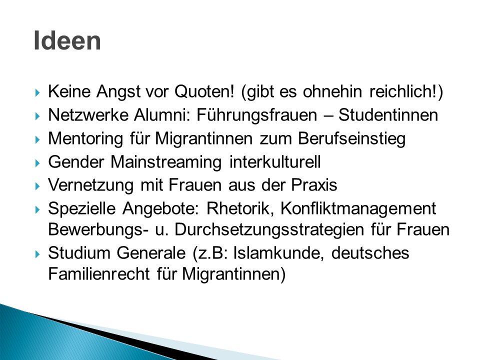 Keine Angst vor Quoten! (gibt es ohnehin reichlich!) Netzwerke Alumni: Führungsfrauen – Studentinnen Mentoring für Migrantinnen zum Berufseinstieg Gen