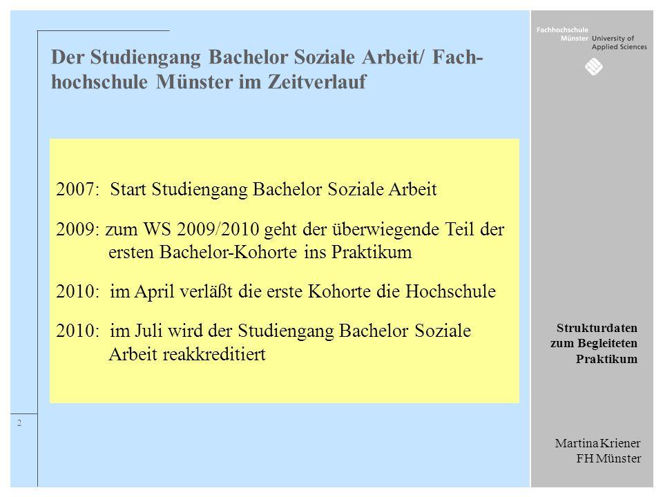 Martina Kriener FH Münster Strukturdaten zum Begleiteten Praktikum 2 Der Studiengang Bachelor Soziale Arbeit/ Fach- hochschule Münster im Zeitverlauf