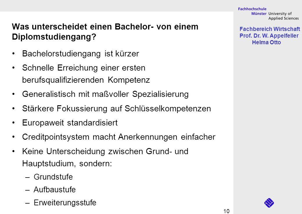 Fachbereich Wirtschaft Prof. Dr. W. Appelfeller Helma Otto 10 Was unterscheidet einen Bachelor- von einem Diplomstudiengang? Bachelorstudiengang ist k