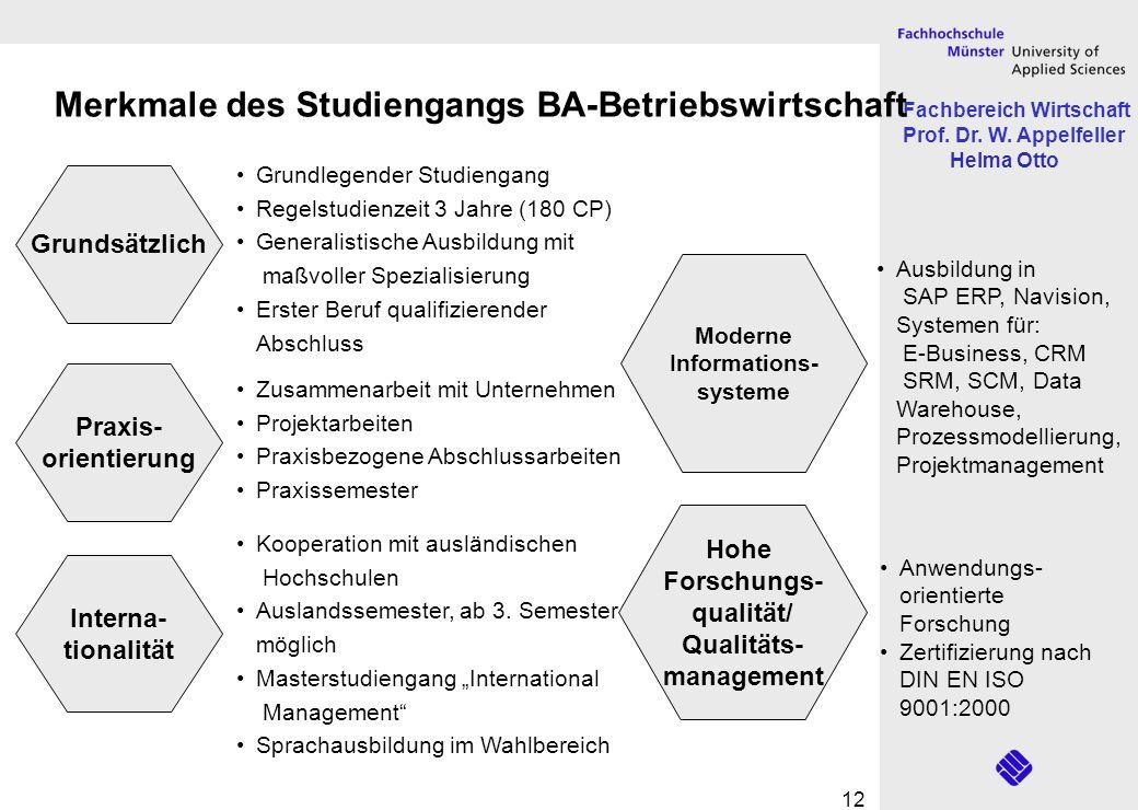 Fachbereich Wirtschaft Prof. Dr. W. Appelfeller Helma Otto 12 Merkmale des Studiengangs BA-Betriebswirtschaft Grundsätzlich Grundlegender Studiengang