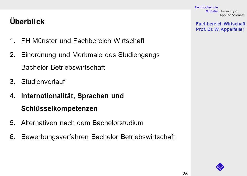 Fachbereich Wirtschaft Prof. Dr. W. Appelfeller 25 Überblick 1.FH Münster und Fachbereich Wirtschaft 2.Einordnung und Merkmale des Studiengangs Bachel