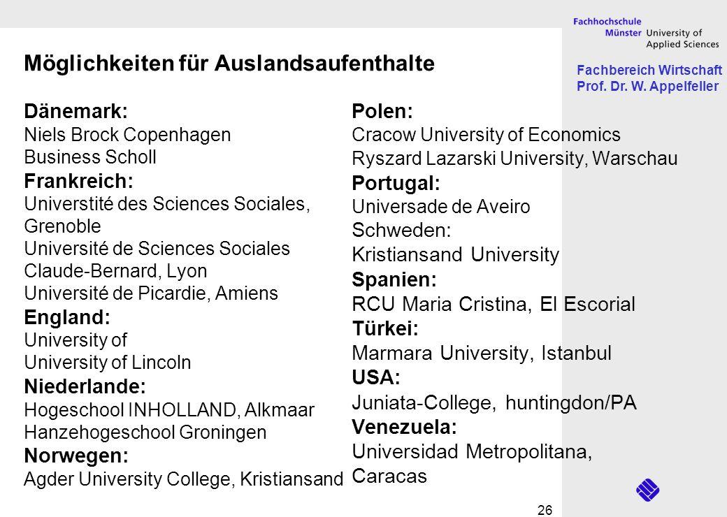 Fachbereich Wirtschaft Prof. Dr. W. Appelfeller 26 Dänemark: Niels Brock Copenhagen Business Scholl Frankreich: Universtité des Sciences Sociales, Gre
