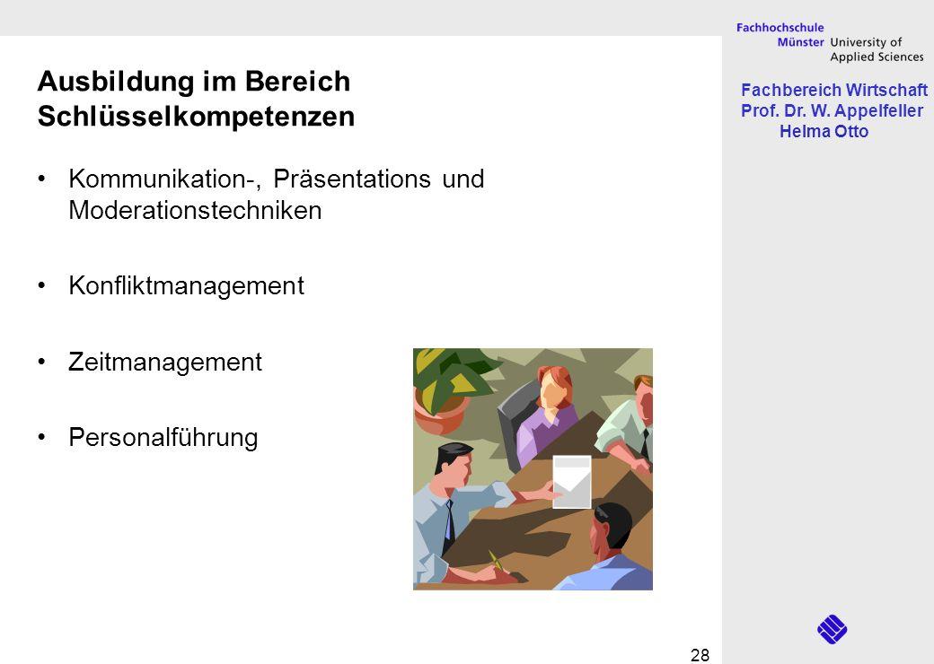 Fachbereich Wirtschaft Prof. Dr. W. Appelfeller Helma Otto 28 Ausbildung im Bereich Schlüsselkompetenzen Kommunikation-, Präsentations und Moderations