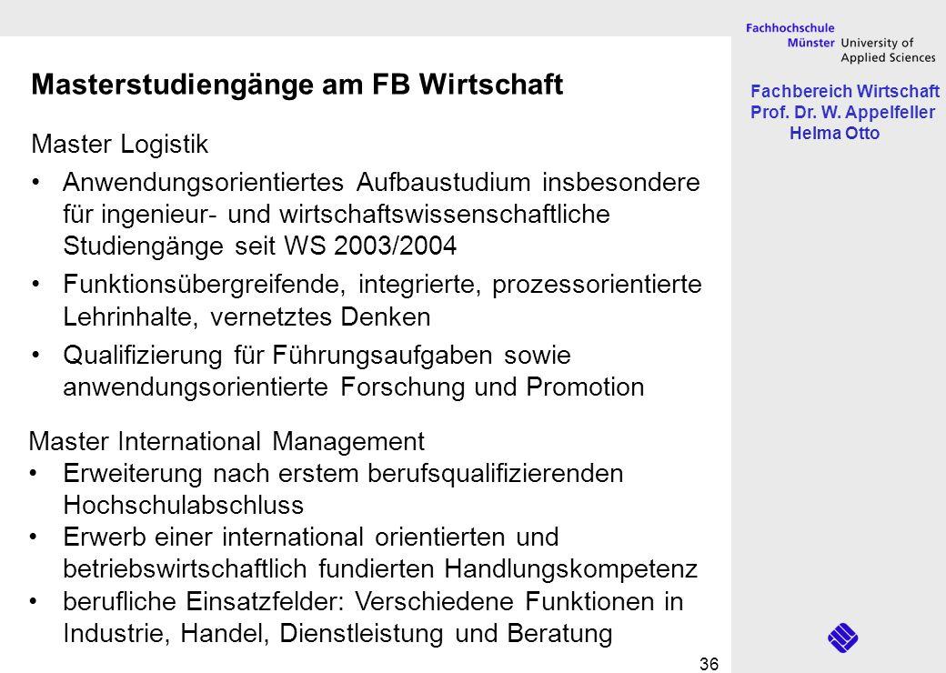 Fachbereich Wirtschaft Prof. Dr. W. Appelfeller Helma Otto 36 Masterstudiengänge am FB Wirtschaft Master Logistik Anwendungsorientiertes Aufbaustudium