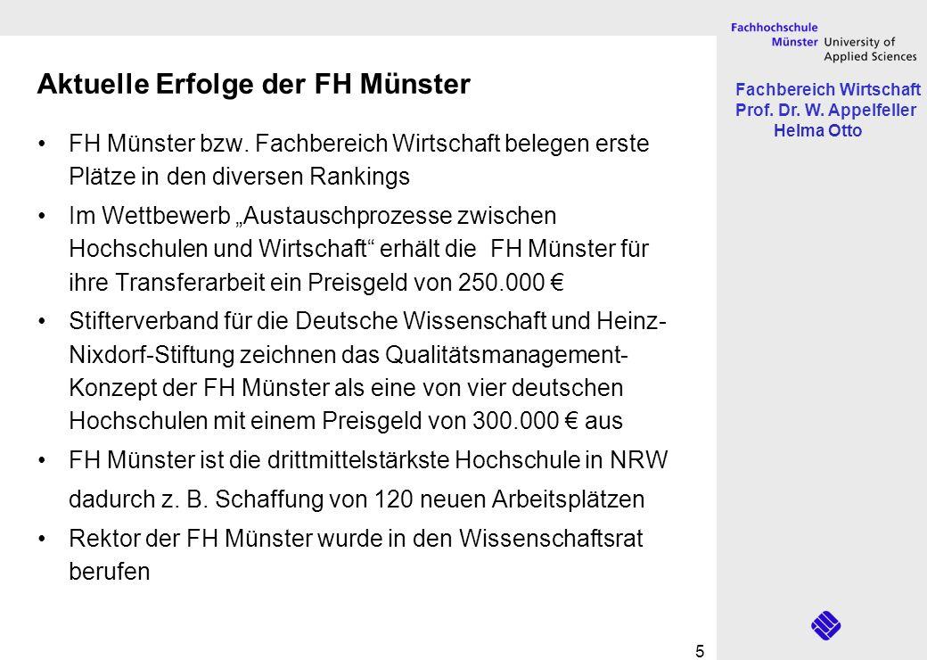 Fachbereich Wirtschaft Prof. Dr. W. Appelfeller Helma Otto 5 FH Münster bzw. Fachbereich Wirtschaft belegen erste Plätze in den diversen Rankings Im W