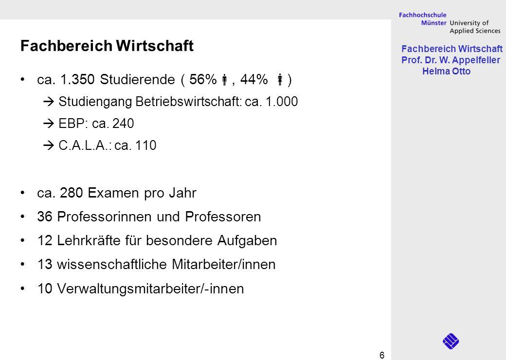 Fachbereich Wirtschaft Prof. Dr. W. Appelfeller Helma Otto 6 Fachbereich Wirtschaft ca. 1.350 Studierende ( 56%, 44% ) Studiengang Betriebswirtschaft: