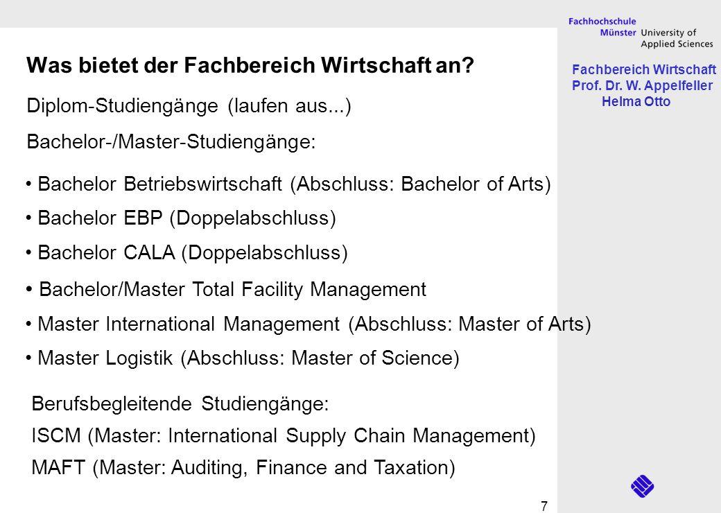 Fachbereich Wirtschaft Prof. Dr. W. Appelfeller Helma Otto 7 Was bietet der Fachbereich Wirtschaft an? Diplom-Studiengänge (laufen aus...) Bachelor-/M