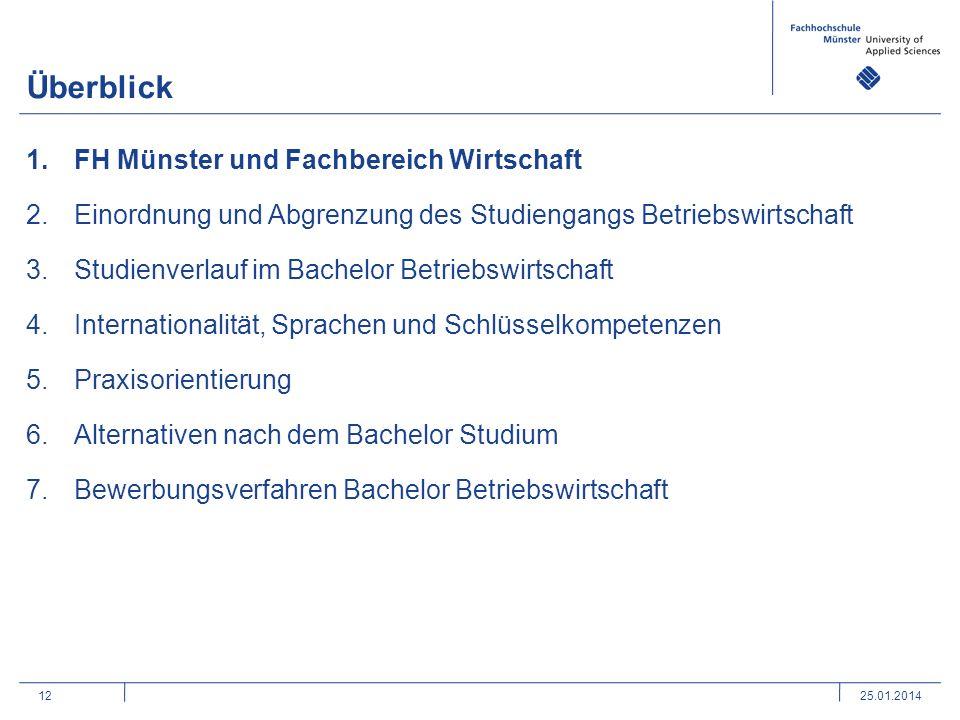 12 Überblick 1.FH Münster und Fachbereich Wirtschaft 2.Einordnung und Abgrenzung des Studiengangs Betriebswirtschaft 3.Studienverlauf im Bachelor Betr