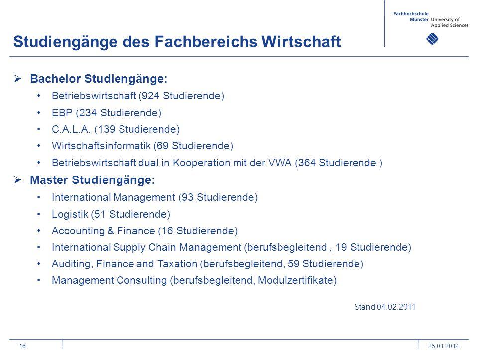 16 Studiengänge des Fachbereichs Wirtschaft Bachelor Studiengänge: Betriebswirtschaft (924 Studierende) EBP (234 Studierende) C.A.L.A. (139 Studierend