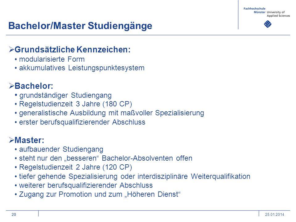 20 Bachelor/Master Studiengänge 20 Grundsätzliche Kennzeichen: modularisierte Form akkumulatives Leistungspunktesystem Bachelor: grundständiger Studie