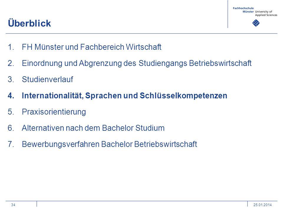 34 Überblick 1.FH Münster und Fachbereich Wirtschaft 2.Einordnung und Abgrenzung des Studiengangs Betriebswirtschaft 3.Studienverlauf 4.Internationali