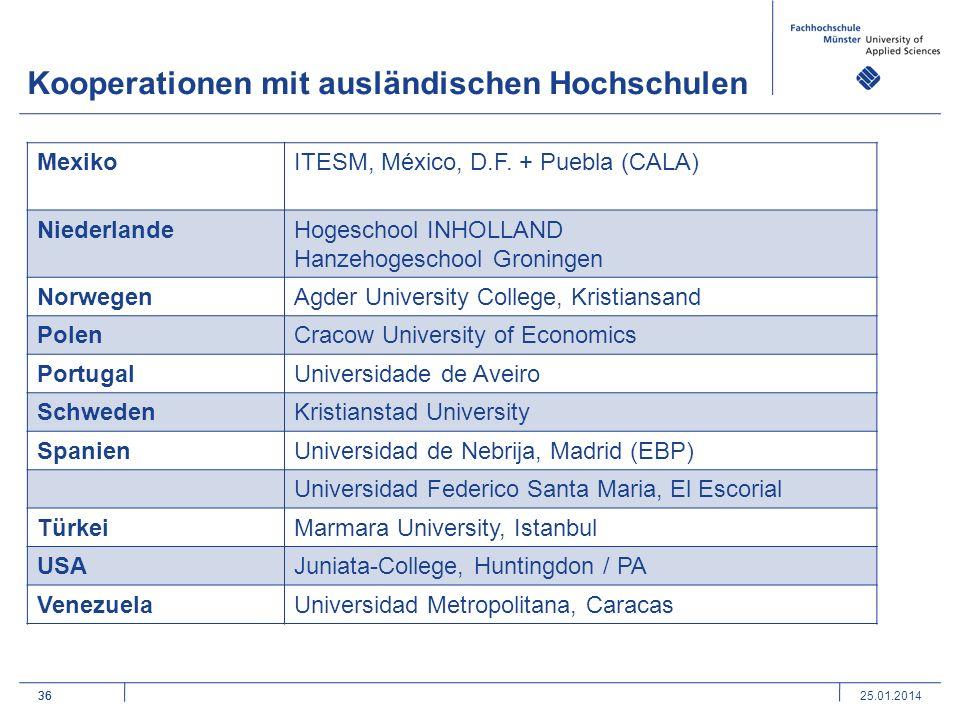 36 Kooperationen mit ausländischen Hochschulen 36 MexikoITESM, México, D.F.