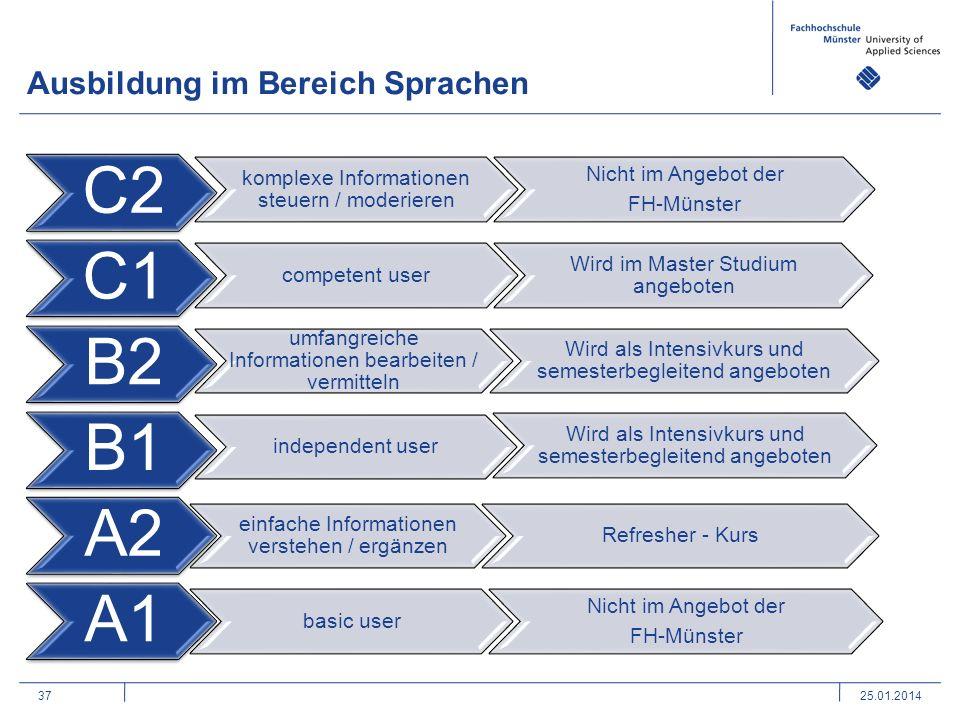 37 Ausbildung im Bereich Sprachen 25.01.2014 C2 komplexe Informationen steuern / moderieren Nicht im Angebot der FH-Münster C1 competent user Wird im