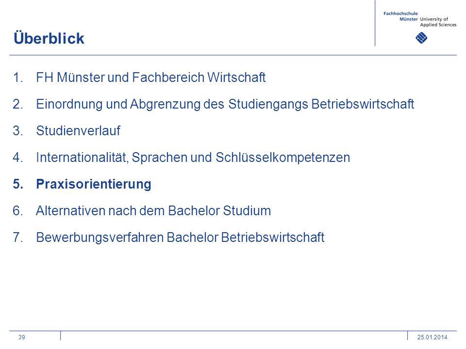 39 Überblick 1.FH Münster und Fachbereich Wirtschaft 2.Einordnung und Abgrenzung des Studiengangs Betriebswirtschaft 3.Studienverlauf 4.Internationali
