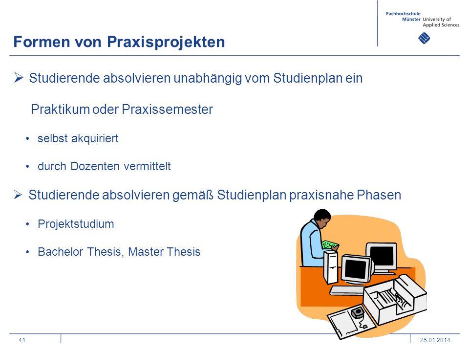 41 Formen von Praxisprojekten 25.01.2014 Studierende absolvieren unabhängig vom Studienplan ein Praktikum oder Praxissemester selbst akquiriert durch