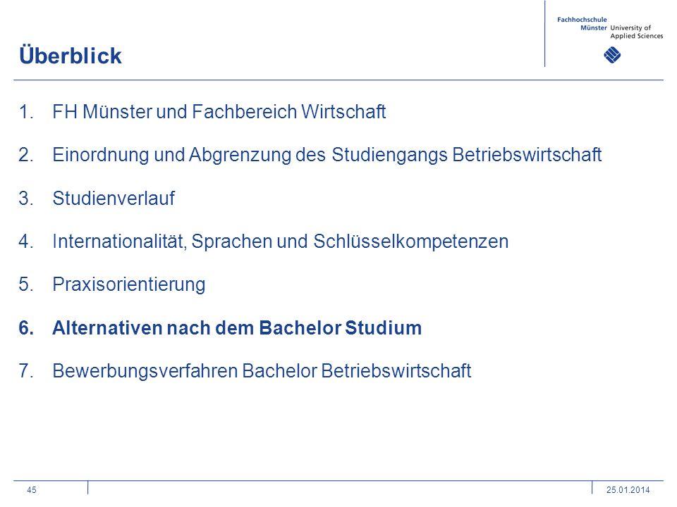 45 Überblick 1.FH Münster und Fachbereich Wirtschaft 2.Einordnung und Abgrenzung des Studiengangs Betriebswirtschaft 3.Studienverlauf 4.Internationali