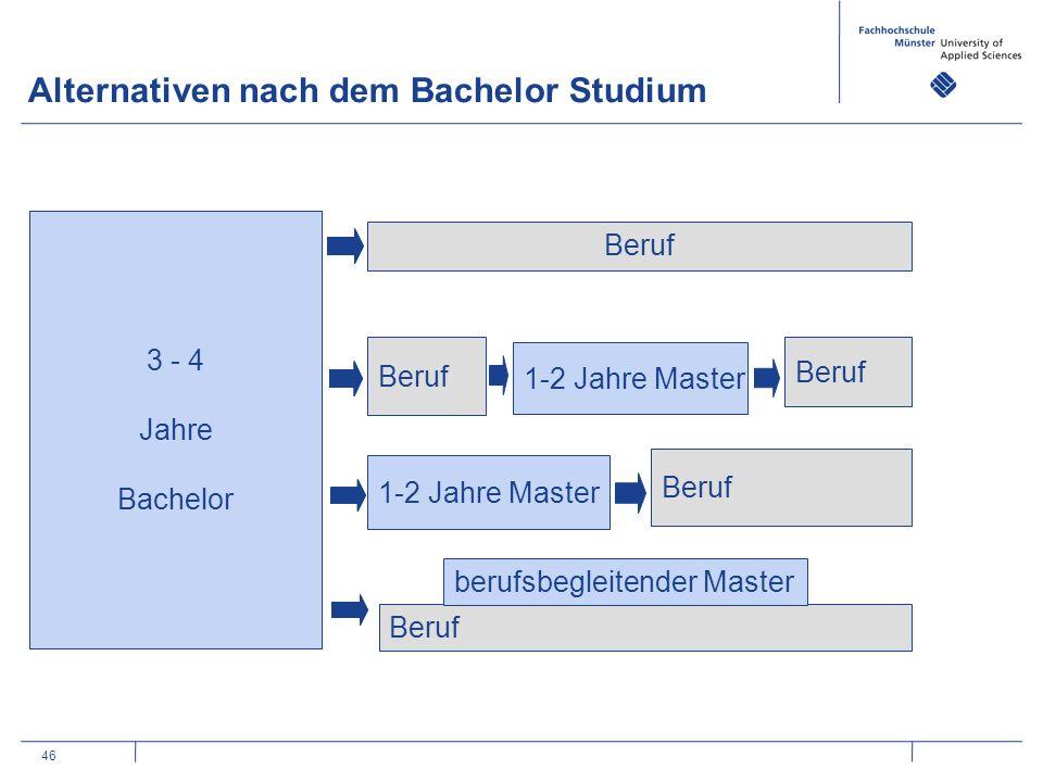 46 Alternativen nach dem Bachelor Studium 3 - 4 Jahre Bachelor Beruf 1-2 Jahre Master Beruf 1-2 Jahre Master Beruf berufsbegleitender Master 3 - 4 Jahre Bachelor