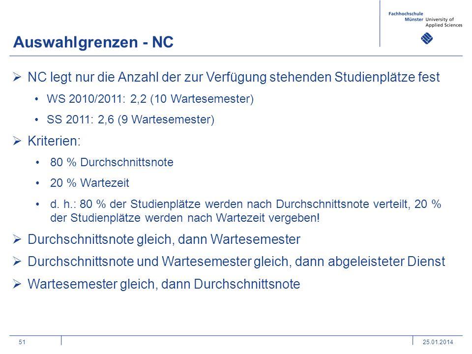 51 Auswahlgrenzen - NC 25.01.2014 NC legt nur die Anzahl der zur Verfügung stehenden Studienplätze fest WS 2010/2011: 2,2 (10 Wartesemester) SS 2011: