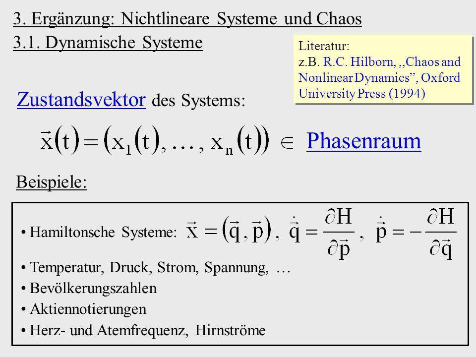 d)Sattelpunkte semistabile Fixpunkte Fixpunkt (n 1)-dimensionaler Grenztorus n-dimensionaler Phasenraum Poincaré-Schnitte: e)Grenzzyklen / Grenztori (bei nicht-linearen Systemen) Grenzzyklus 2-dim.