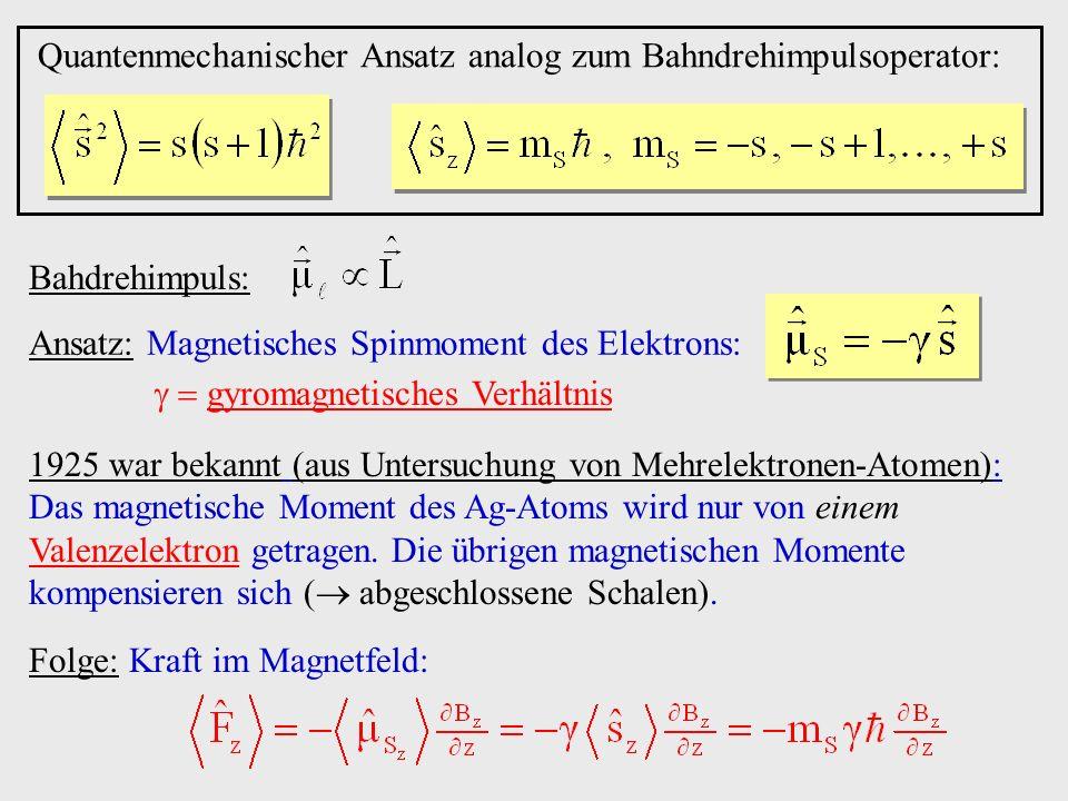 Quantenmechanischer Ansatz analog zum Bahndrehimpulsoperator: Bahdrehimpuls: Ansatz: Magnetisches Spinmoment des Elektrons: gyromagnetisches Verhältni