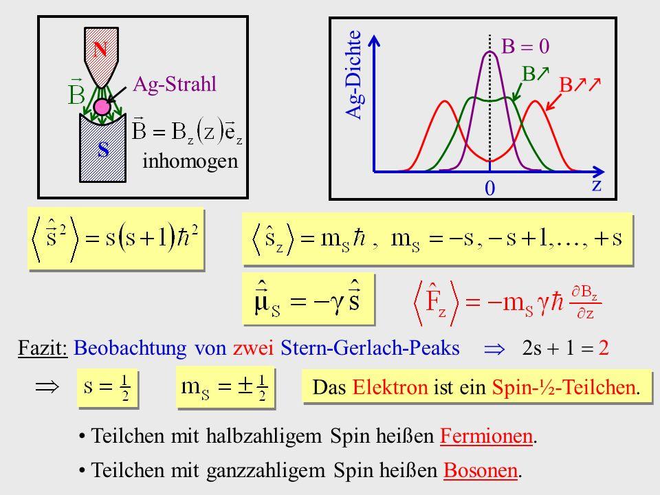 Teilchen mit halbzahligem Spin heißen Fermionen. Teilchen mit ganzzahligem Spin heißen Bosonen. Fazit: Beobachtung von zwei Stern-Gerlach-Peaks 2s 1 2