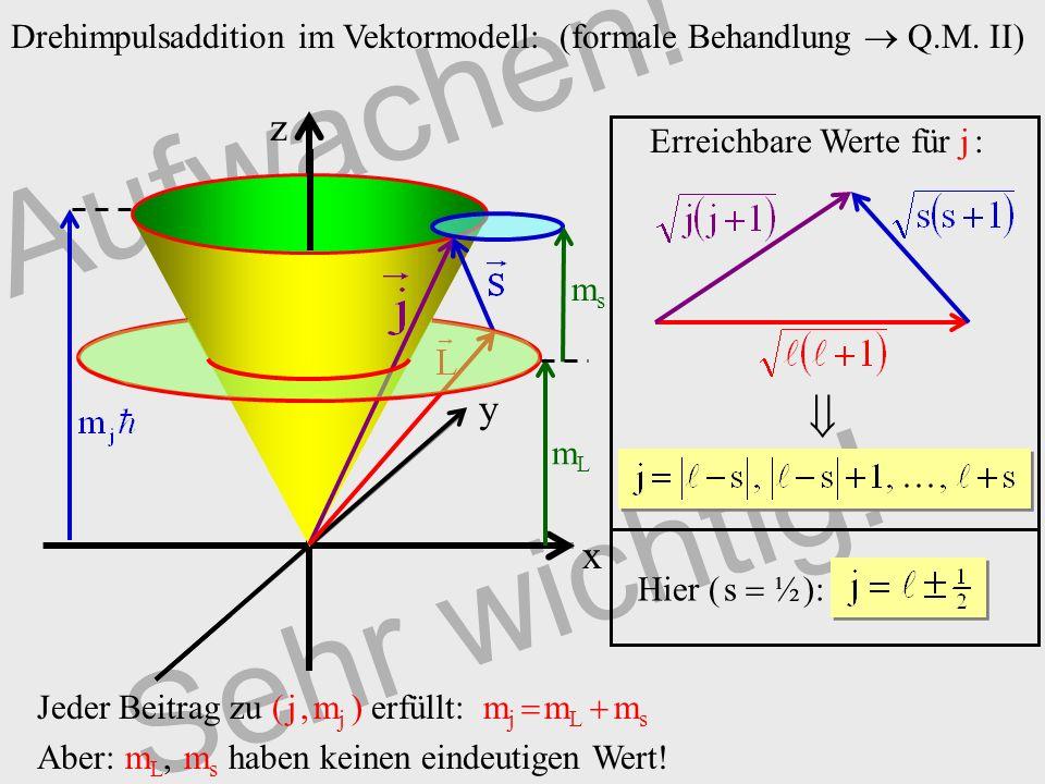 Aufwachen! Sehr wichtig! Drehimpulsaddition im Vektormodell: (formale Behandlung Q.M. II) z x y mLmL msms Jeder Beitrag zu ( j, m j ) erfüllt: m j m L