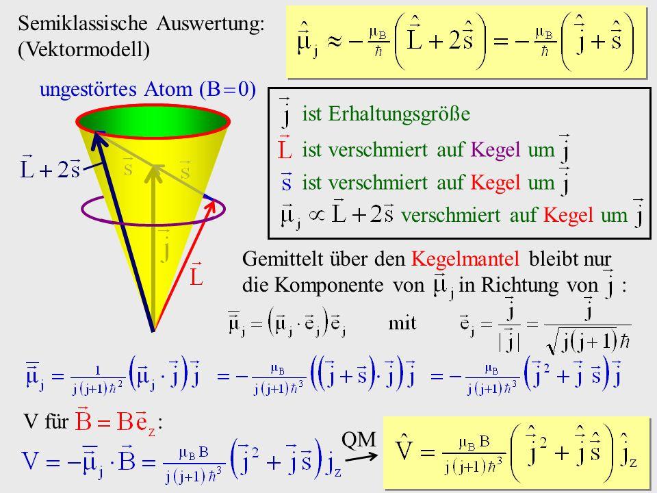 Semiklassische Auswertung: (Vektormodell) ungestörtes Atom (B 0) ist verschmiert auf Kegel um verschmiert auf Kegel um ist Erhaltungsgröße Gemittelt ü