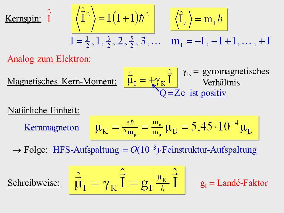 Kernspin: Analog zum Elektron: Magnetisches Kern-Moment: K gyromagnetisches Verhältnis Q Z e ist positiv Natürliche Einheit: Kernmagneton Folge: HFS-A