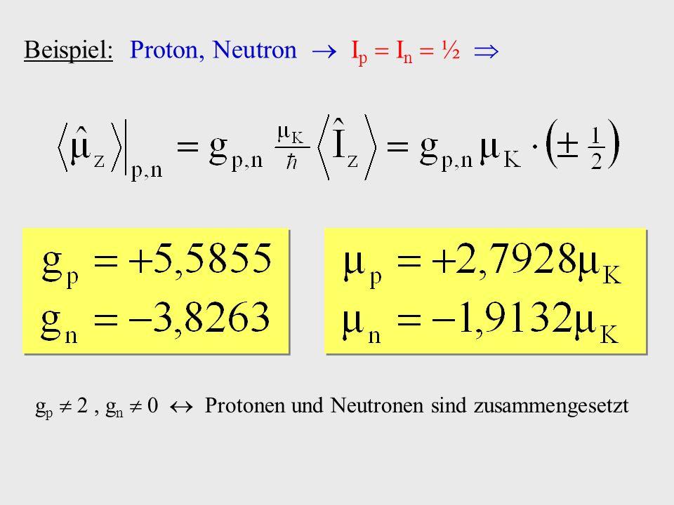 Beispiel: Proton, Neutron I p I n ½ g p 2, g n 0 Protonen und Neutronen sind zusammengesetzt