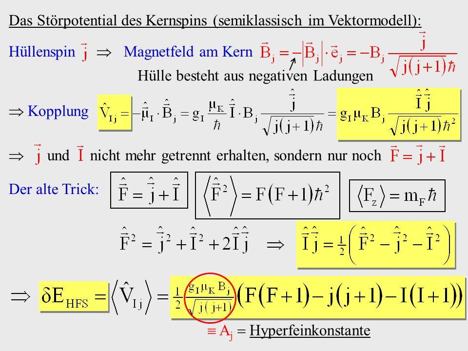 Das Störpotential des Kernspins (semiklassisch im Vektormodell): Hüllenspin Magnetfeld am Kern Hülle besteht aus negativen Ladungen Der alte Trick: A