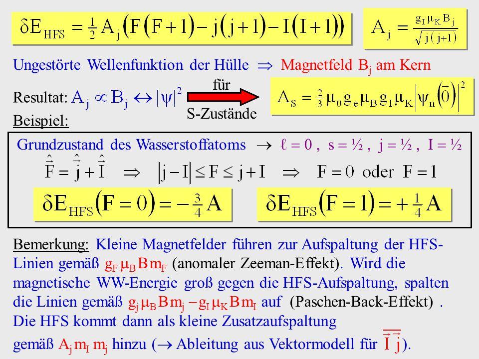 Ungestörte Wellenfunktion der Hülle Magnetfeld B j am Kern Resultat: für S-Zustände Bemerkung: Kleine Magnetfelder führen zur Aufspaltung der HFS- Lin