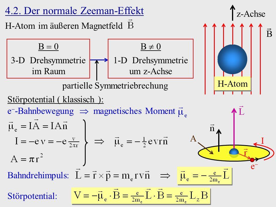 4.2. Der normale Zeeman-Effekt H-Atom im äußeren Magnetfeld z-Achse B H-Atom B 0 3-D Drehsymmetrie im Raum B 0 1-D Drehsymmetrie um z-Achse partielle