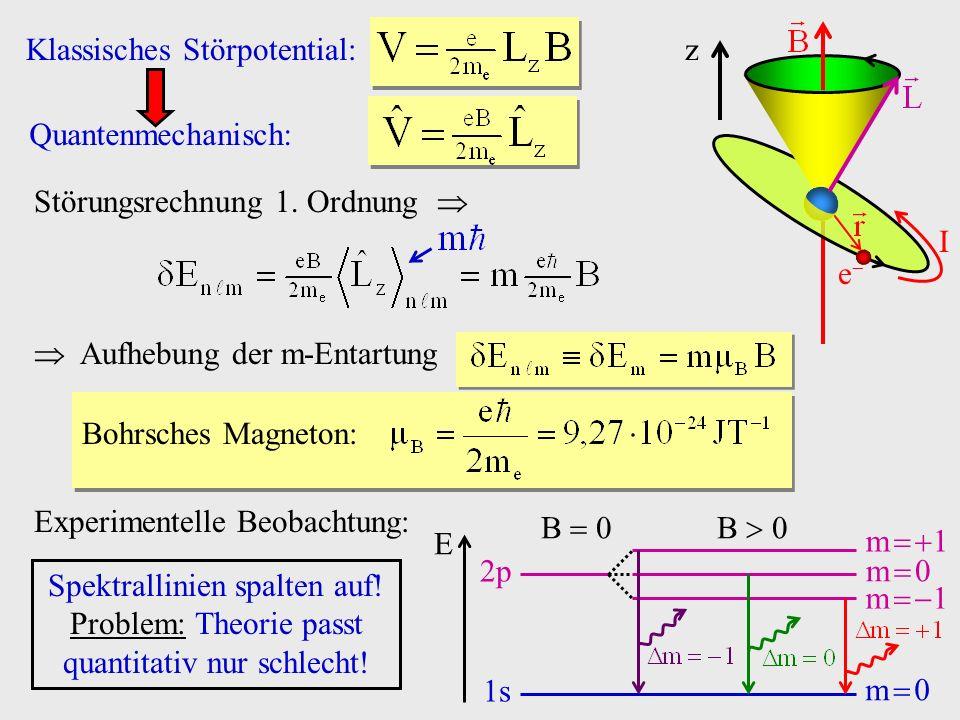 Störungsrechnung 1. Ordnung Aufhebung der m-Entartung Bohrsches Magneton: e I z Experimentelle Beobachtung: B 0 2p 1s m 0 m 1 E Spektrallinien spalten