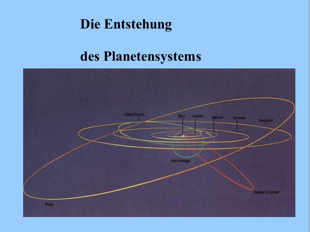 -gesamte Wolke erfährt Abplattung kugelsymmetrische Gaskugel wird zur Scheibe -Drehimpuls: bei Kontraktion erhalten, daher schnellere Rotation bei Kontraktion Vermutung: in der Regel entstehen aus Urnebel Binär- oder Mehrfach- Sternsysteme (oben) oder Planetensysteme (unten)